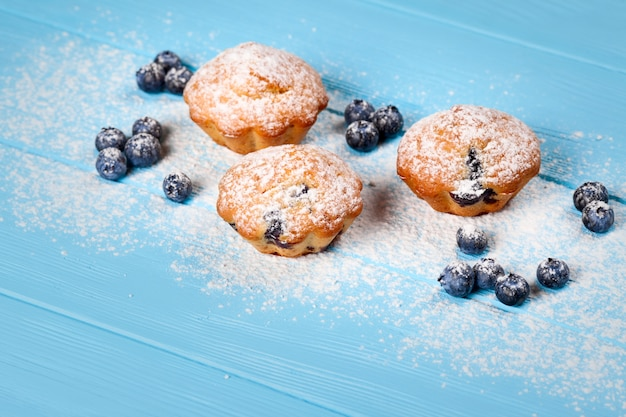 Blueberry muffin. homemade baked cupcake with blueberries, fresh berries, powdered sugar on blue wooden background.
