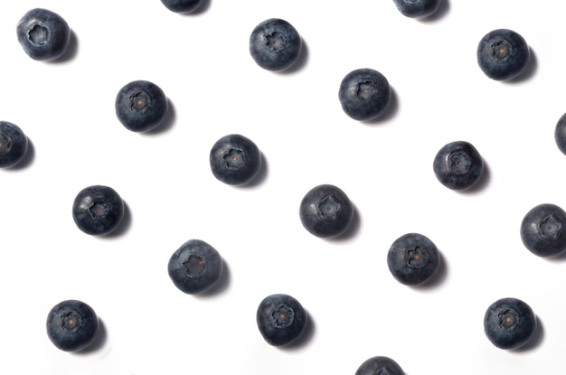 Blueberry pattern with shadow on white isolated background