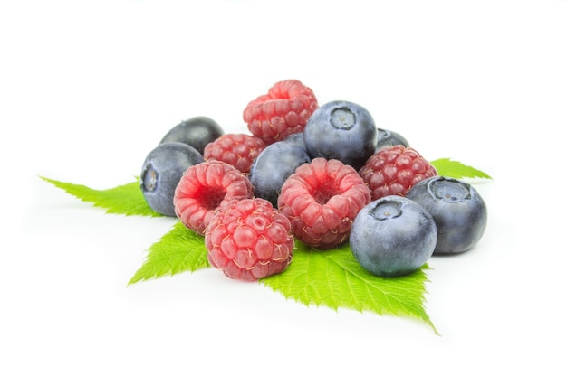Blueberry and raspberries isolated
