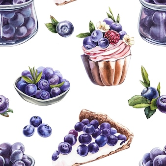Blueberry. seamless patterns. watercolor botanical illustration. hand drawn watercolor painting blueberry on white background.