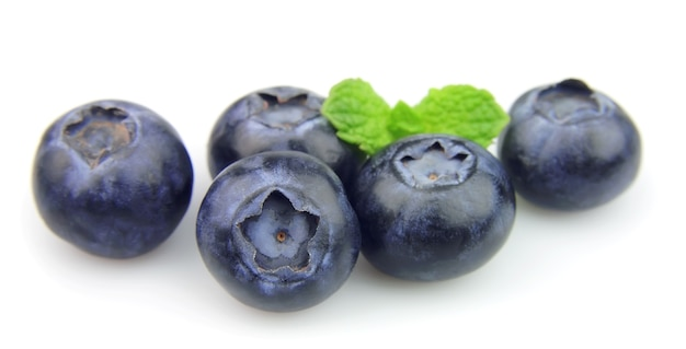 Blueberry with mint on white