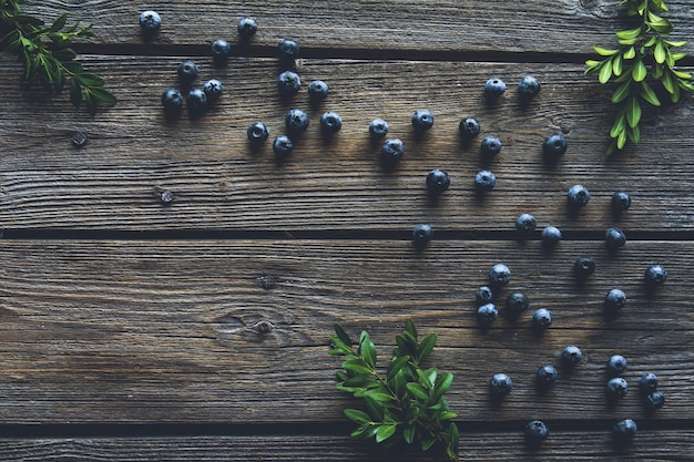Blueberry on wooden table background. blueberries close up. healthy food, health