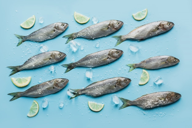 Bluefish with lemon, sea salt, lemon on pastel blue.