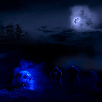 Blueness headstones and skullon soil