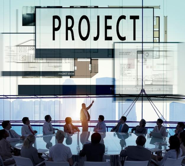 プロジェクトの計画を計画するblueprint drawing concept