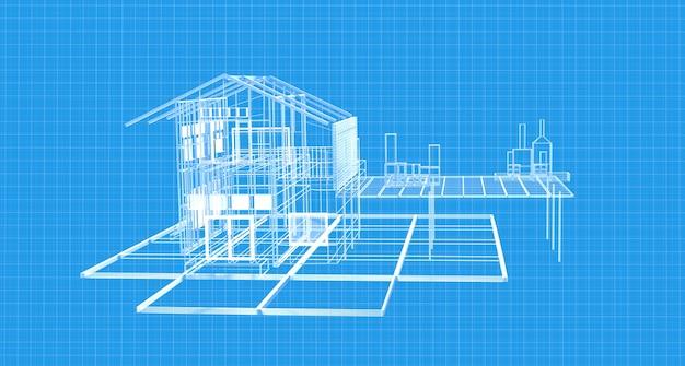 ワイヤーフレーム構造を描く青写真の家の計画。 3dレンダリング