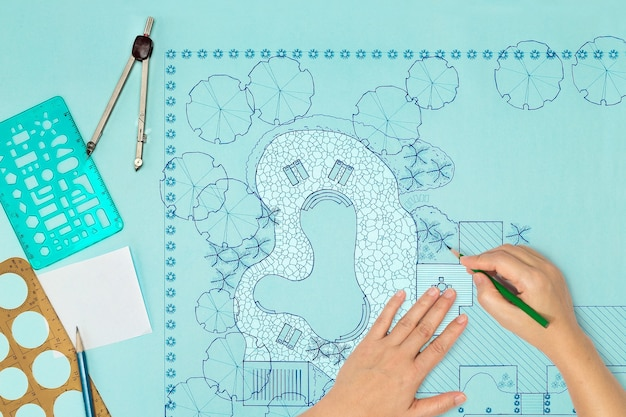 ヴィラの青写真ランドスケープアーキテクトデザイン裏庭計画