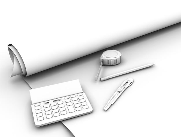 План чертежа и инструменты. 3d иллюстрация