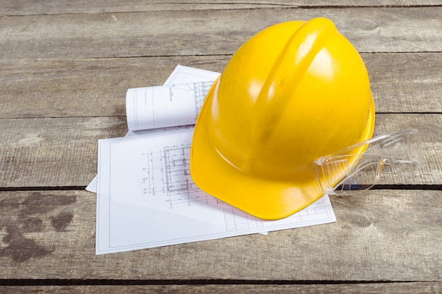 Blueprints, hardhat or safty helmet
