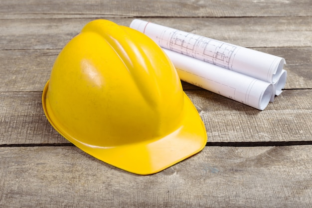 Blueprints, hardhat or safty helmet