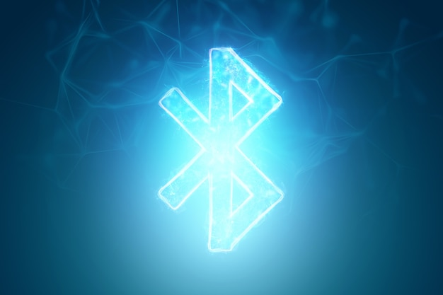 Bluetooth neon sign on blue background, isolate.