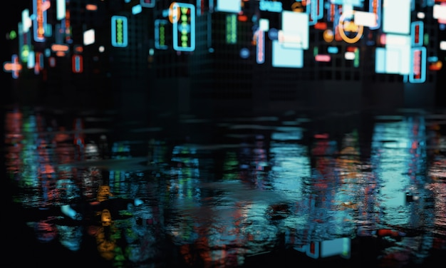 Blur advertisement signs on buildings with reflection on wet street's puddles