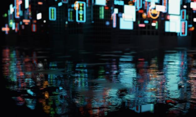 Размытые рекламные вывески на зданиях с отражением на мокрой улице лужи