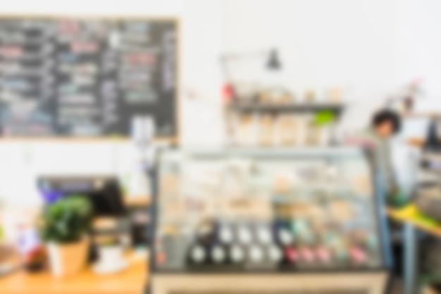 カフェレストランのコーヒーショップバーカウンターをぼかし