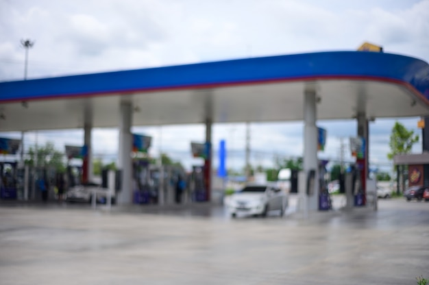 Blur focus background. gas station. petrol station.