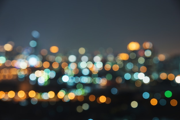 Blur image of city at night.blurred urban abstract traffic