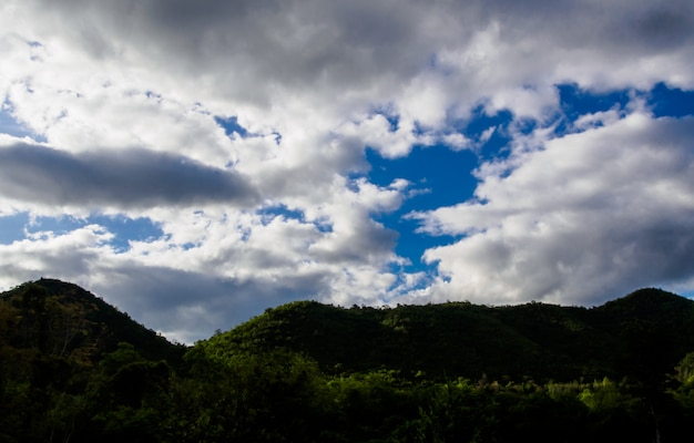 Blur image - view of the forests on the mountain with fog on blue sky with cloud background