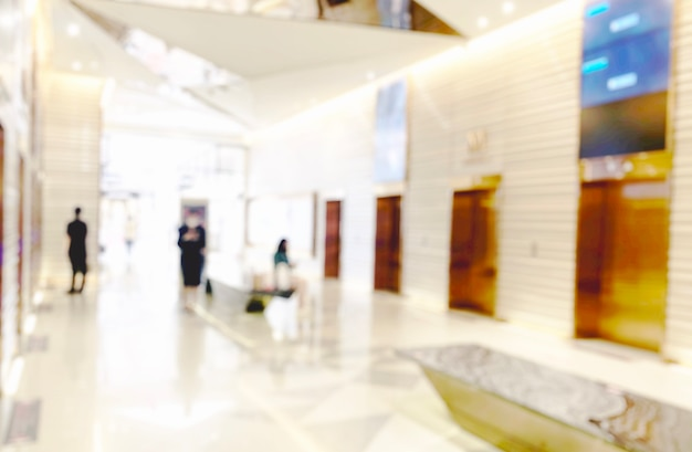 Blur light background at shop in mall for business background, blurry abstract bokeh at interior hallway.