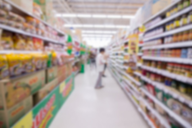 Blur people shop at suppermarket