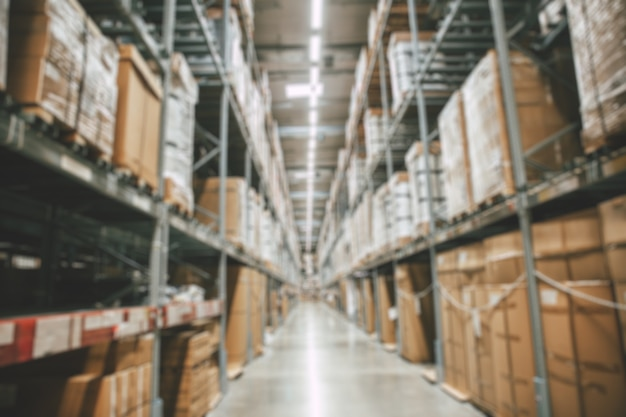 Blur warehouse goods stock products inventory or factory cargo storage prepare for shipping distribution background.