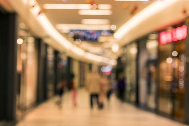 Blurred abstract background of corridor in shopping mall