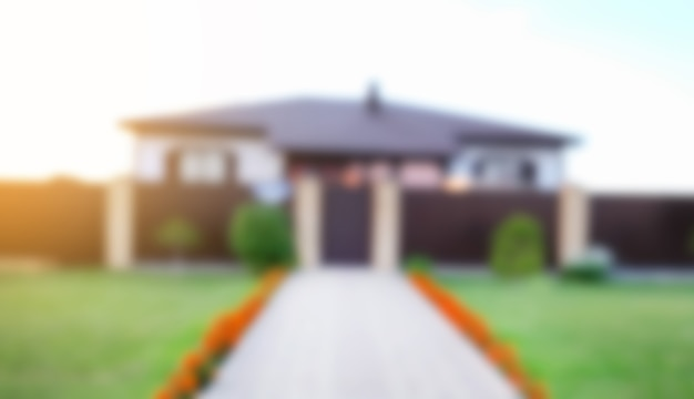 Blurred abstract background of house at the summer house exterior