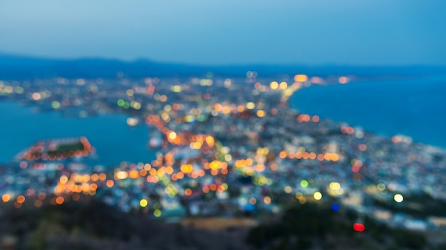 Blurred abstract cityscape of hakodate