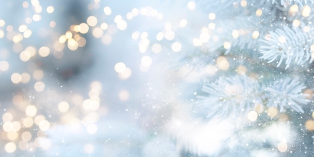 背景をぼかした写真。クリスマスと新年の休日の背景。
