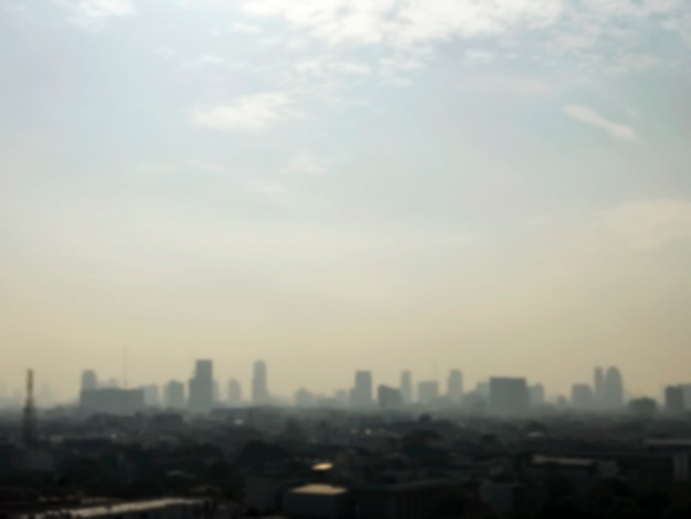 Blurred background of city at bangkok thailand in the morning
