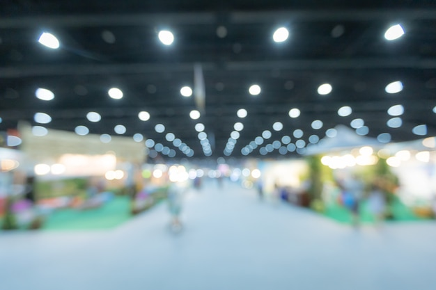 Blurred background of the conference and exhibition hall.