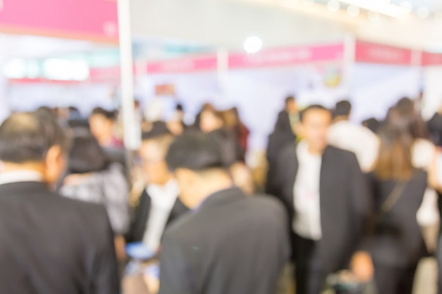 Blurred background of  public exhibition hall. business trade show, job fair, or stock market.