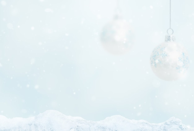 Blurred background with balls and ice