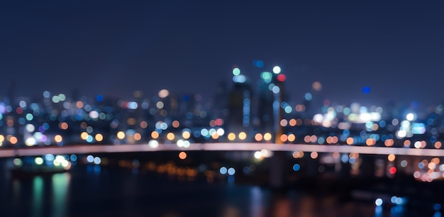 Blurred bokeh city lights background