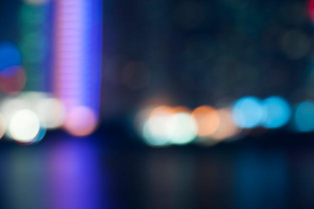 Blurred bokeh lights at night in city street