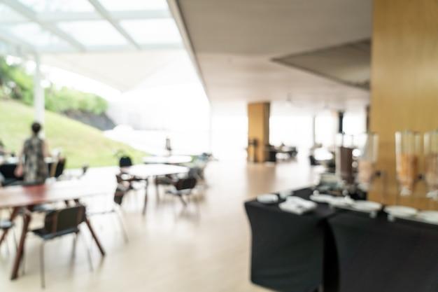Blurred breakfast buffet at hotel restaurant interior