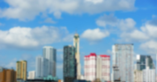 Blurred building with blue sky