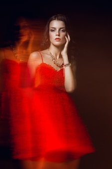 Blurred color art portrait of woman