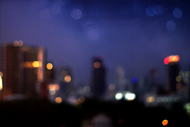 The blurred colorful of bokeh in cityscape background.
