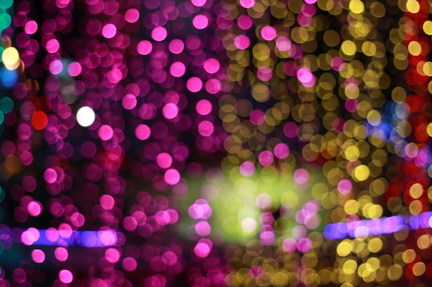 Blurred of colorful bokeh night light abstract background Premium Photo