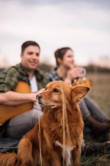 かわいい犬とぼやけているカップル