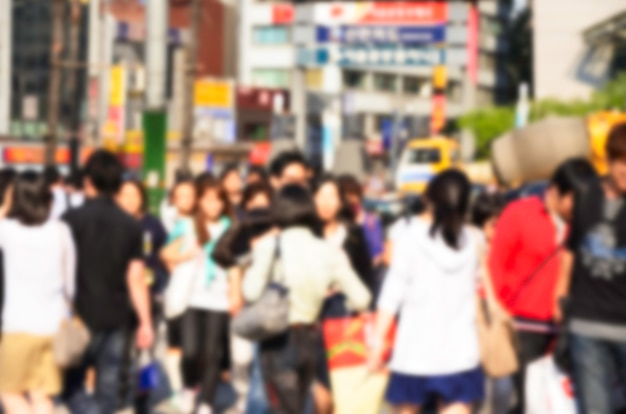 Blurred crowd at myeongdong commercial area in seoul city