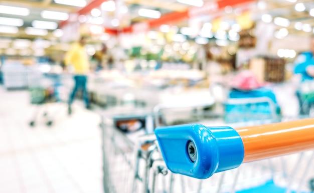 Blurred defocused bokeh of grocery supermarket