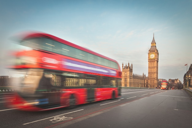 Blurred double decker with westminster and big ben