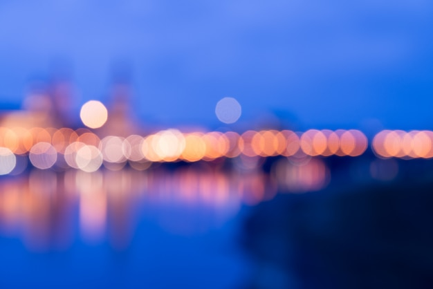 Blurred of dresden skyline at night