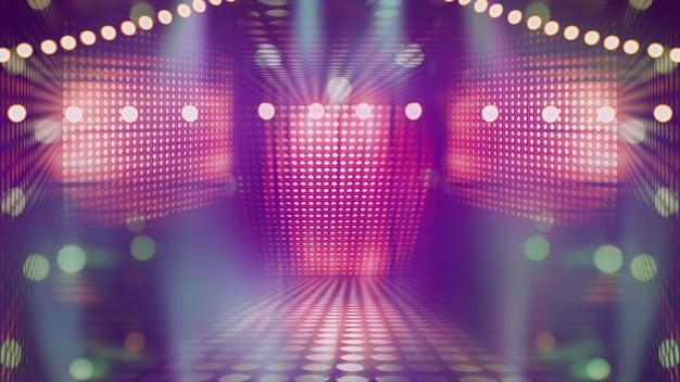 楽しいカラフルなスポットライト、コンサート照明の抽象的なイメージを備えたぼやけた空の劇場ステージ