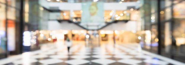 Blurred hallway in modern shopping mall background.