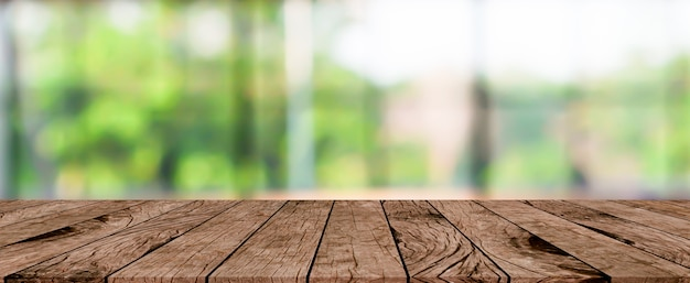 Blurred house garden panoramic background with plank table