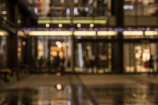 Blurred illuminated retail stores