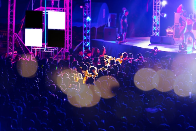 Blurred image of audience in free night music festival.