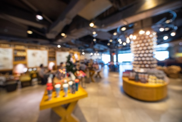 Blurred image of cafe with bokeh background.